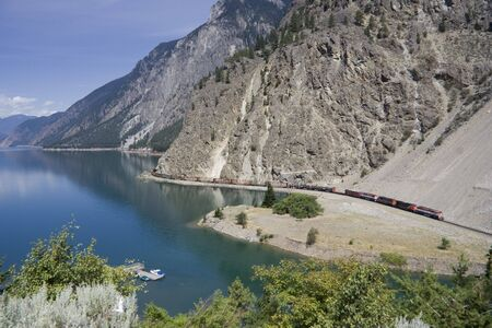 canadian pacific: Long Freight Train - Canadian Pacific Railway on Seton Lake, British Columbia, Canada Stock Photo