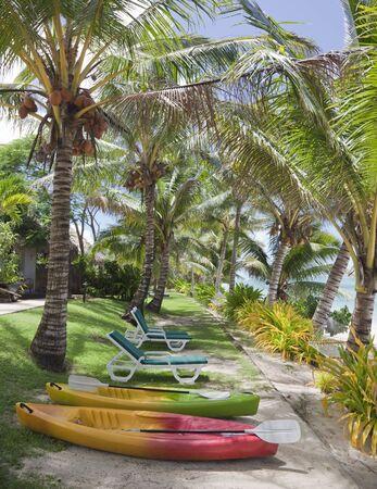 rarotonga: Spiaggia tropicale con palme, sedie a sdraio e kayak di mare - Rarotonga, Cook Islands, Polinesia