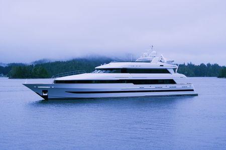 Luxury Yacht in Clayoquot Sound UNESCO Biosphere Reserve - Tofino, Pacific Rim National Park, Vancouver Island, British Columbia, Canada