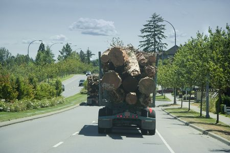 Trucks in Motion carrying a Load of Logs - Vancouver Island, British Columbia, Canada photo