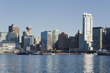 Cityscape with Vancouver Lookout at Harbour Centre - Vancouver, British Columbia, Canada Stock Photo