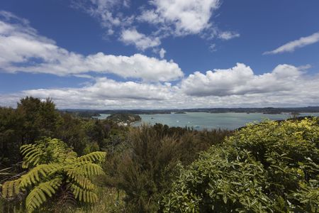Bay of Islands Panorama - View from Flagstiff Hill in Russell, Northland, North Island, New Zealand Stock Photo
