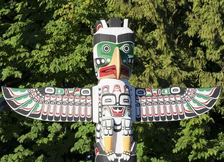 Top of Totem Pole in Stanley Park - Vancouver, British Columbia, Canada photo