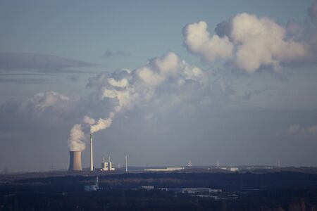 Coal-Fired Power Station and Wind Turbines side by side - Recklinghausen, North Rhine-Westphalia, Germany
