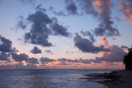 Cloudscape over Ocean and Island at Sunset - Rarotonga, Cook Islands, Polynesia