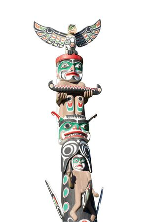 totem: Part of Totem Pole on White - Stanley Park, Vancouver, British Columbia, Canada Stock Photo