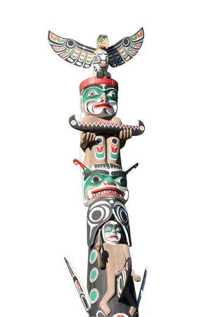 totem indiano: Parte di Totem Pole on White - Stanley Park, Vancouver, British Columbia, Canada Archivio Fotografico