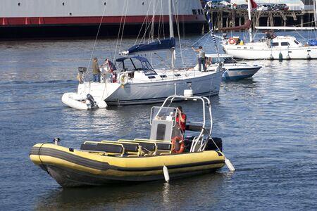 Marina with Sailboats and Inflatable Boat - Victoria, Vancouver Island, British Columbia, Canada