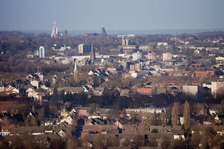 Cityscape of Recklinghausen - View from Halde Hoheward, Herten, North Rhine-Westphalia, Germany