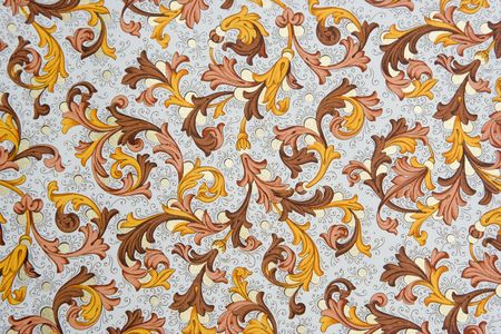 18th: Vintage Wallpaper - Floral Pattern from 18th Century Stock Photo