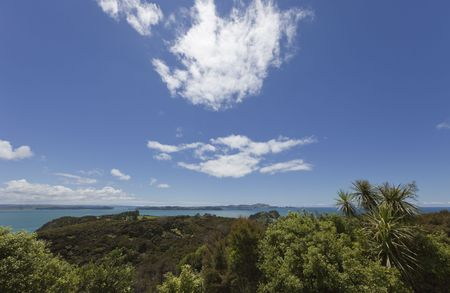 Bay of Islands with blue Sky and white Clouds - View from Flagstiff Hill in Russell, Northland, North Island, New Zealand
