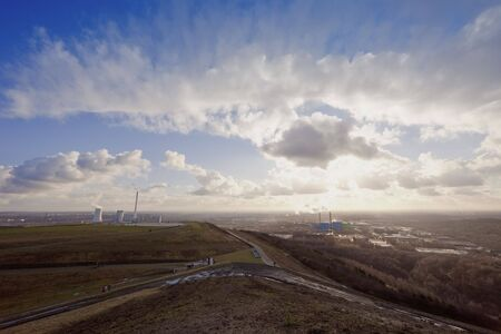Industrial District with large Heap and Power Plant - View from Halde Hoheward, Herten, North Rhine-Westphalia, Germany Stock Photo