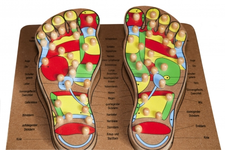 displaying: Foot Reflexology - Model Foot displaying Pressure Points