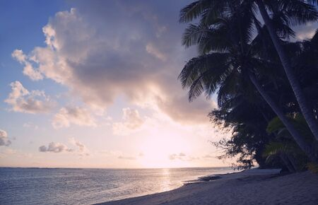 Tropical Island at Sunset - Rarotonga, Cook Islands, Polynesia Stock Photo