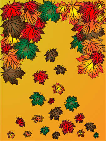 colorful autumn maple leaves falling down background