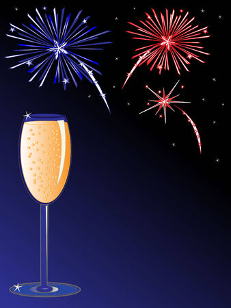 Glass of champagne and fireworks in the background. Illustration