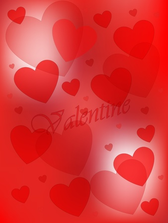 Valentine hearts on red background
