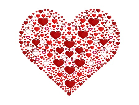 Big heart made of little hearts Vector