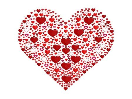 Big heart made of little hearts Illustration