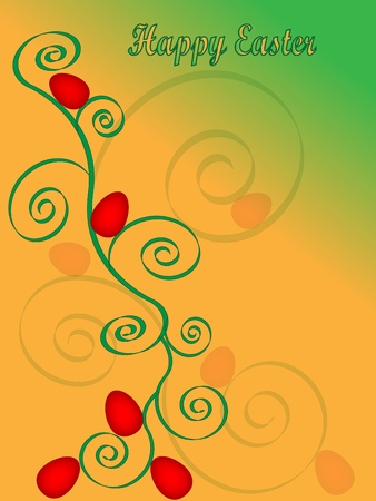 colorful easter card with eggs and spirals  Illustration