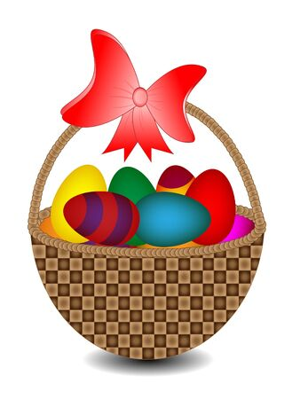 easter basket with colorful eggs and ribbon Vector