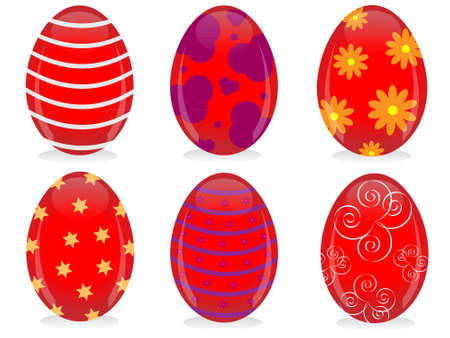 Red shiny Easter eggs with colorful ornaments