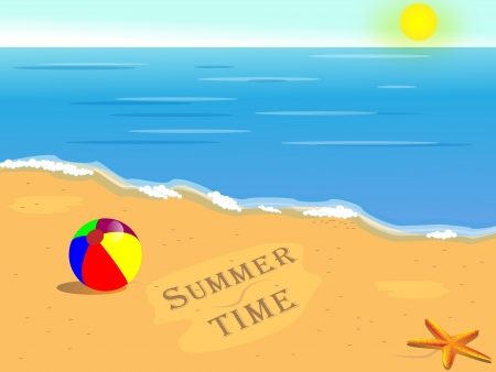 Summer holiday background, beautiful tropical sunny beach Illustration