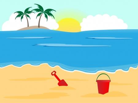 zomer: Zomer vakantie achtergrond, zonnig strand met emmer en spade Stock Illustratie
