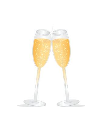 brindisi champagne: Due bicchieri di champagne durante un brindisi