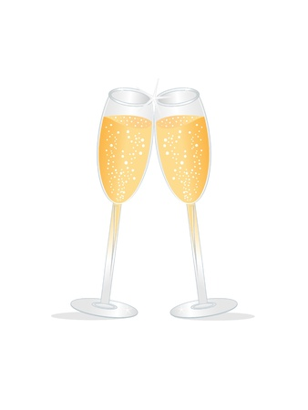 Two champagne glasses during a toast