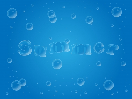 Illustration of a summer text made of bubbles in water Illustration