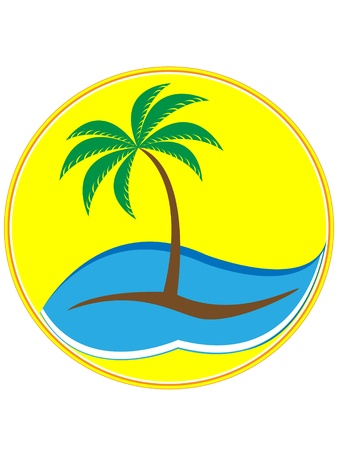 tropical palm tree with waves on yellow background Vector