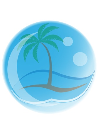 tropical palm tree with waves in a bubble