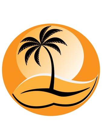 Silhouette of palm tree on orange background – sunset   Vector