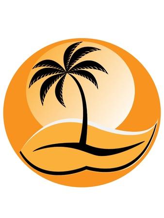 Silhouette of palm tree on orange background – sunset   Illustration