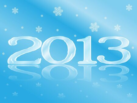 New Year card with frozen 2013 and snowflakes