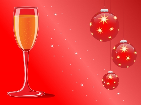 champagne and christmas decoration on red background
