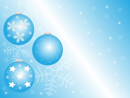 christmas greeting card with ornaments, snowflakes and stars