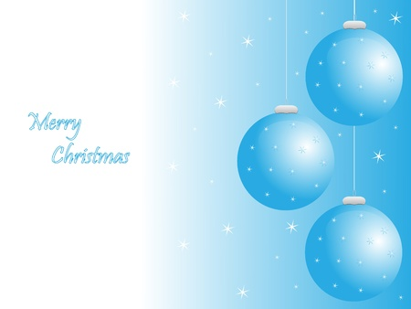 greeting card with christmas balls, stars and text Illustration