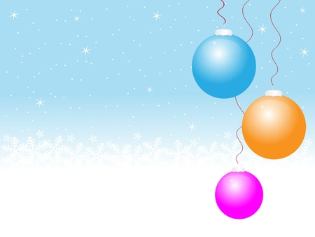 colorful christmas baubles with snowflakes in background