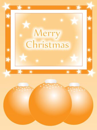 golden christmas  greeting card with xmas baubles and stars