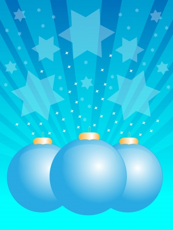 christmas balls and stars on blue background