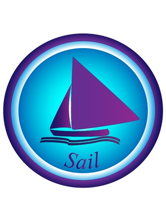 sailboat and waves on blue background with sail text