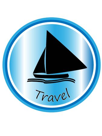 silhouette of a sailboat on blue background with travel text Illustration