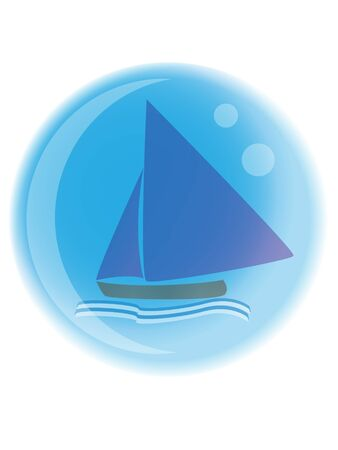 sailboat with waves on blue background in a bubble
