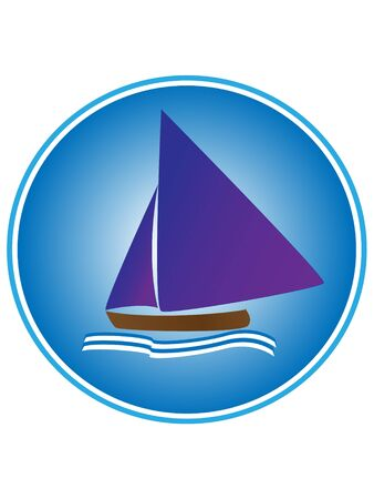 sailboat with waves on blue and white background Illustration