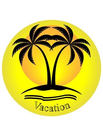 Silhouette of palm trees on yellow background with vacation text