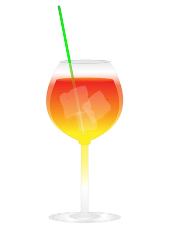 Summer  cocktail with ice and straw isolated on white background Illustration