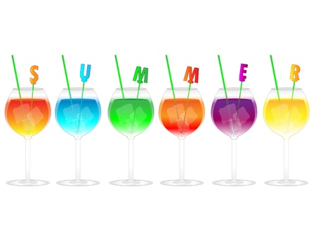 Colorful icy  cocktails with summer decorations isolated on white