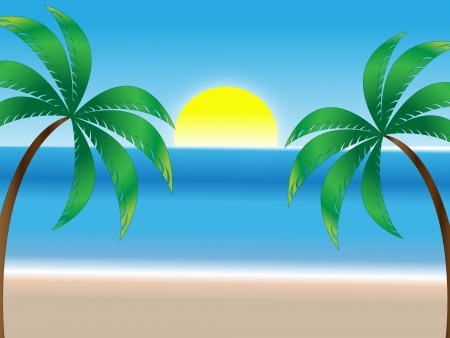 Summer holiday background, sunny beach, sea and palm trees Illustration
